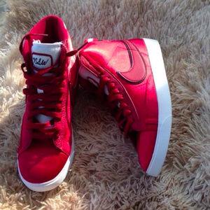 ad1c2c7be1db Nike Shoes - Nike Blazer Mid Premium Satin Red Crush Sneakers